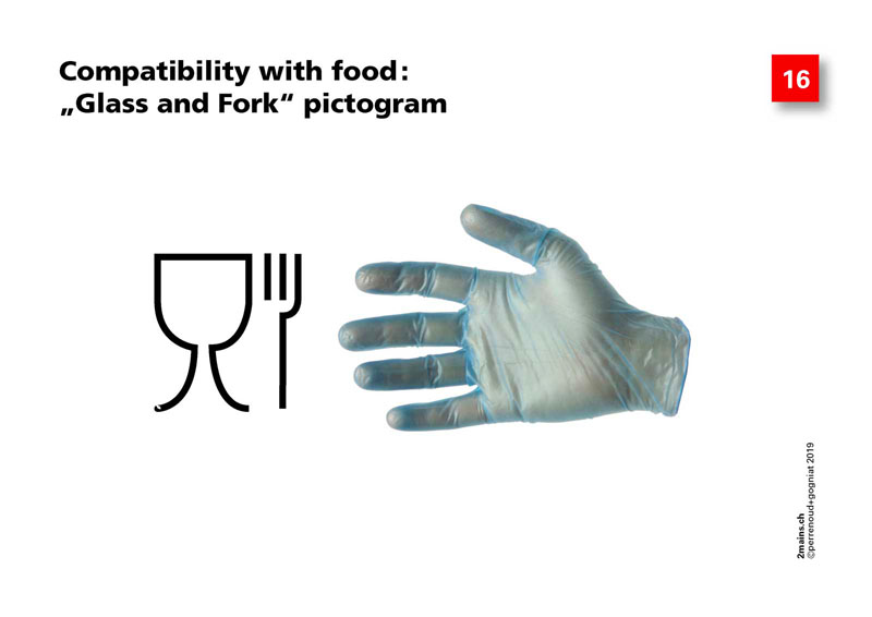 "Compatibility with food: ""Glass and Fork"" pictogram"