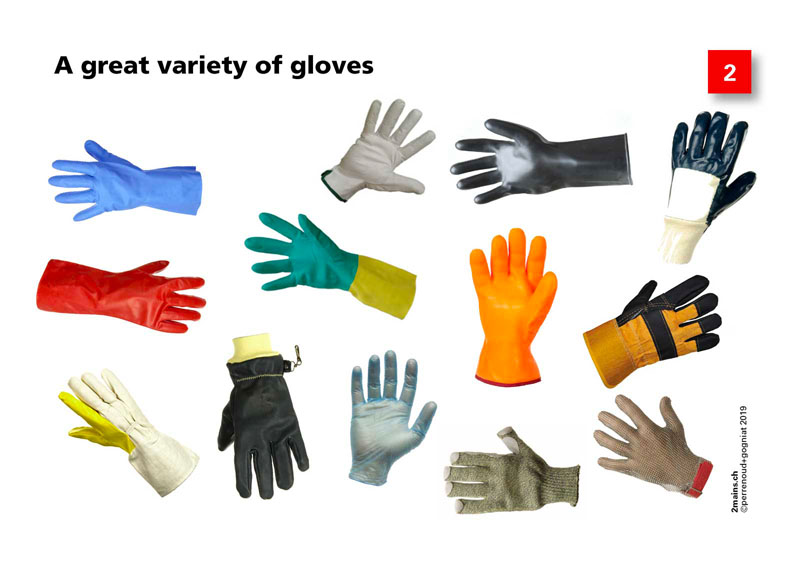 A great variety of protective gloves